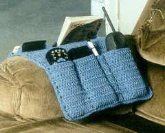 Father's Day Chair Caddy- instructions were given as a crochet-along, but they're all here now. The pockets can hold up to 2 remotes, cordless phone, tv guide, notepad, pen or pencil, caculator, and reading glasses.