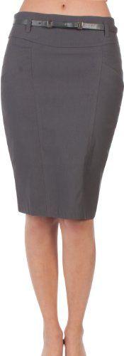 Sakkas Women`s Shirred Hip Stretch Pencil Skirt with Skinny Belt $23.99