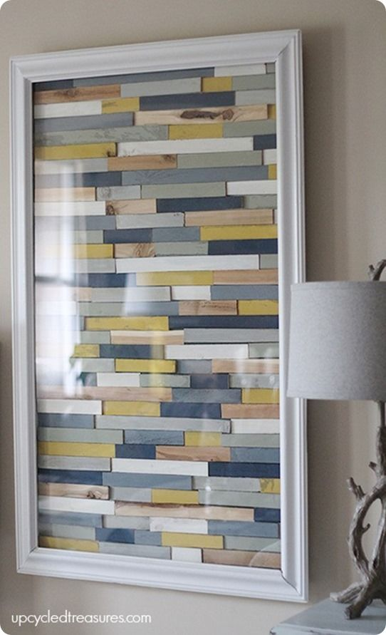 Wood Shim Wall Art - similar to Pottery Barn. You could probably do this with paint sticks! Want to hang something heavy on your wall without nails or anchors? Then you have to check out PowerHook @ www.Powerhook.me ! #powerhook #homedecor #wall #hook