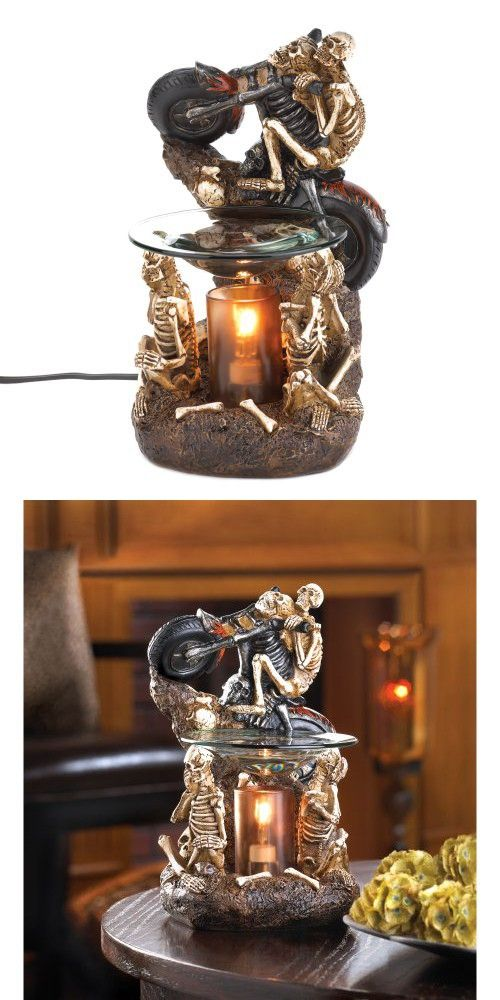 Graveyard Skeleton Riding Motorcycle Electric Oil Warmer or Home Decor Aromatherapy Tart Wax Burner Diffuser with Dimmer Switch Halloween Decoration and Eerie, Scary & Ghoulish Gifts for Bikers