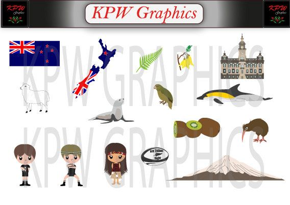 New Zealand  Countries of the World Clipart Set in a PNG