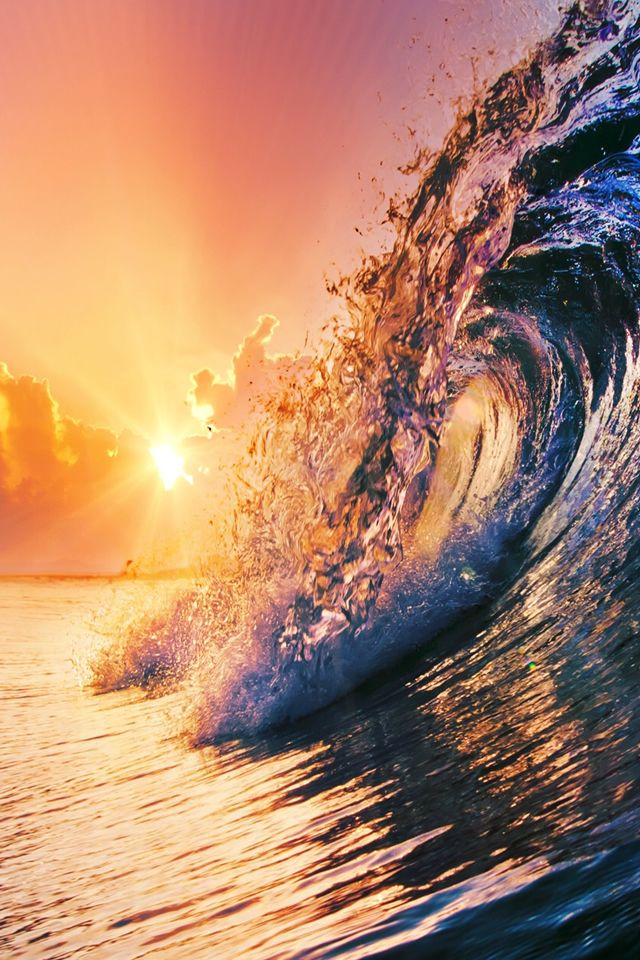 Surging Wave Under Sunrise #iPhone 4s #Wallpaper   iPhone 4(s) Wallpapers