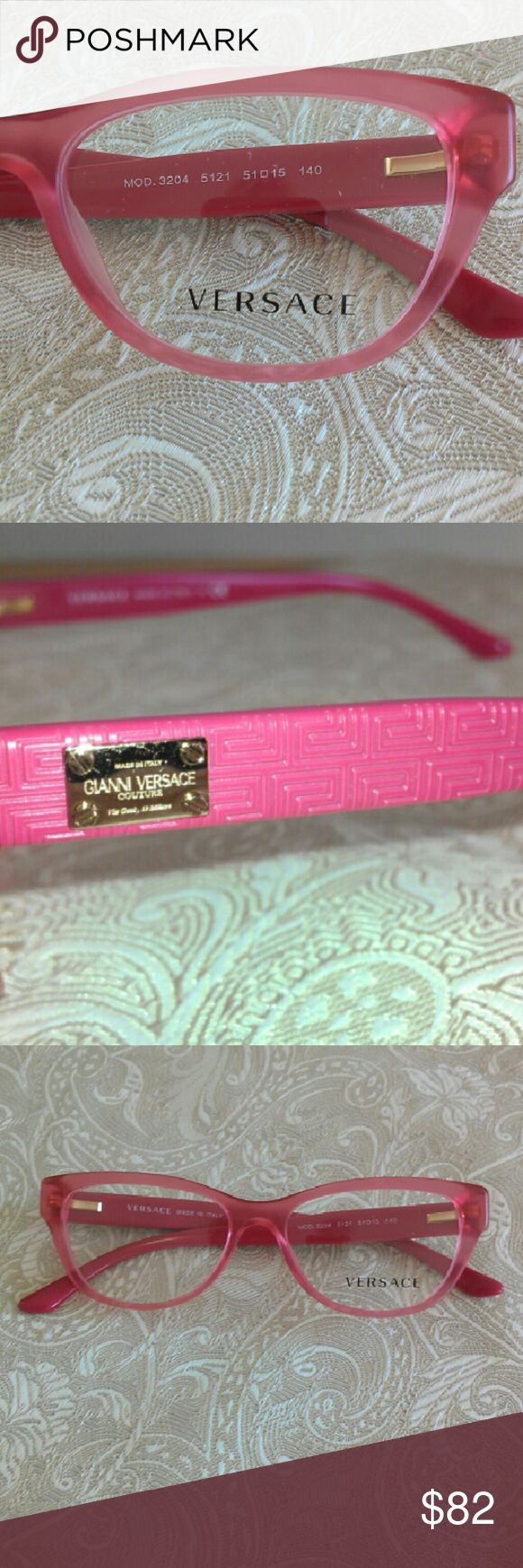 Pink Versace  Eyeglasses 51-15-140 New!  Beautiful frosted rose colored RX eye frames. Case not included. Versace Accessories Glasses