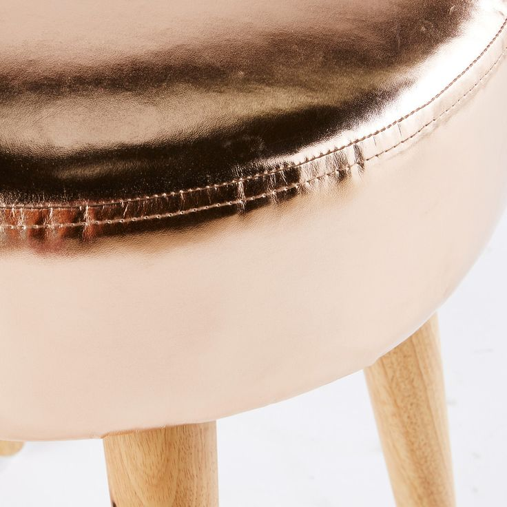 GLOSSY Copper Stool with Rubber Wood Legs | Maisons du Monde