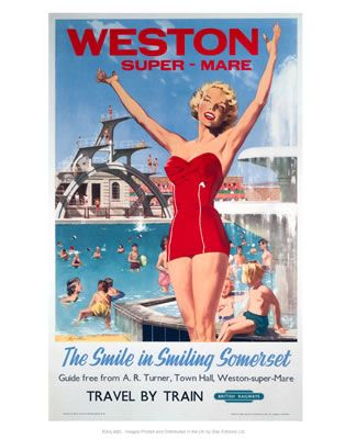 Weston-super-MareThe smile in smiling SomersetGirl in Red at the Swimming pool on VintageRailPosters.co.uk Prints