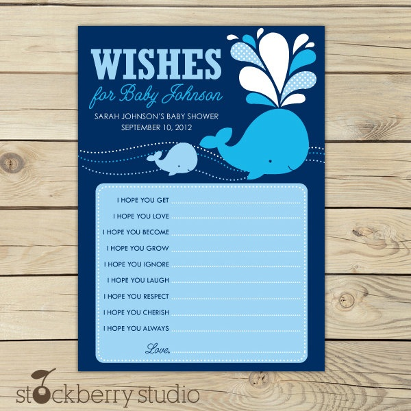 Whale Baby Shower Wishes for Baby Advice Printable Card. $10.00, via Etsy.