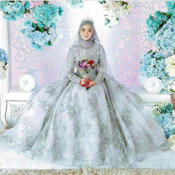 35 Gaun Pengantin Muslimah Modern Warna Putih Malaysian Wedding Dress Wedding Dress Hijab Malaysian Wedding