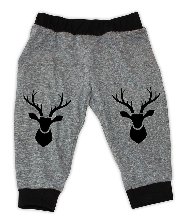 Take a look at this Heather Gray & Black Deer Knee-Patch Harem Pants - Infant today!