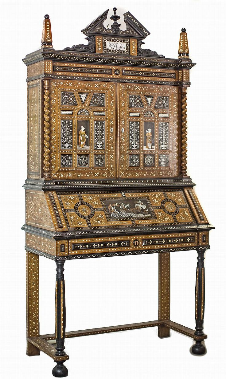 ITALIAN BAROQUE STYLE VARIOUS METAL AND IVORY INLAID