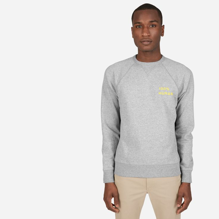 We launched the 100% Human Collection to support two things that matter to us—protecting human rights and remembering that we are more the same than we are different. For every 100% Human Pride product sold, we're proud to donate to the HRC. #HumanTogether Featured here is our Classic French Terry Crew sweatshirt with a small print, as well as our 100% Human pin—free with every purchase while supplies last.