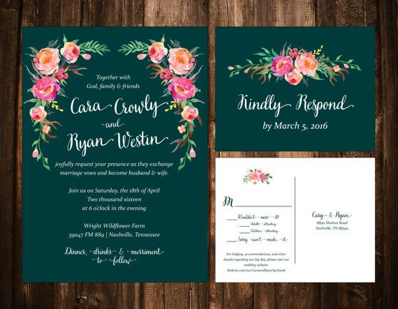 Bohemian Watercolor Floral Wedding Invitations Hunter Green Printable OR Set Of 25