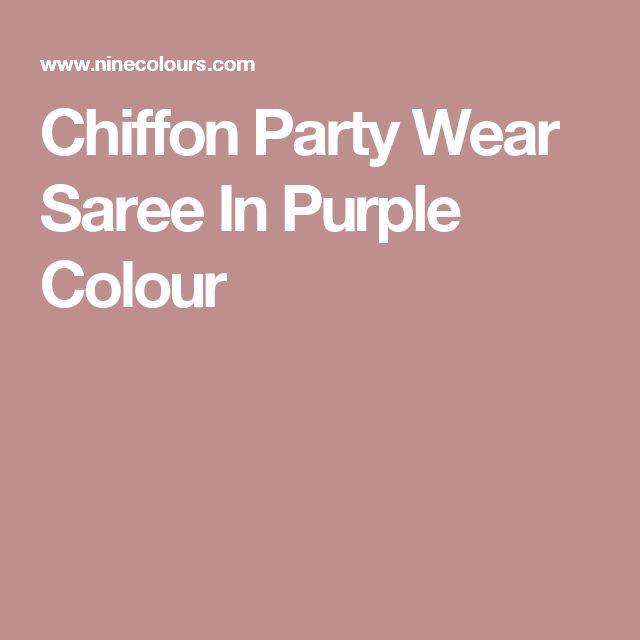 Chiffon Party Wear Saree In Purple Colour