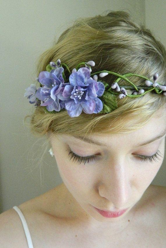 Purple 'Mira' Tiara - Delphinium Wedding Hair Piece - Rustic Woodland Chic. $75.00, via Etsy.