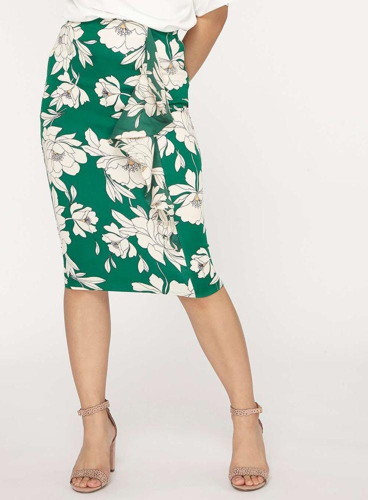 Womens Petite Green Floral Print Scuba Skirt- Green