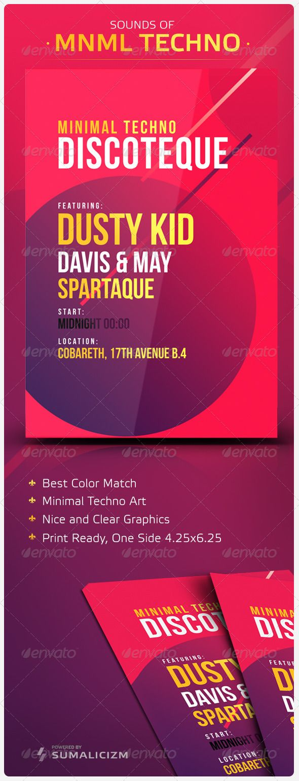 Minimal Techno Flyer  #GraphicRiver        Sounds of Minimal Techno Clear and Simple – Minimal Techno Flyer. Promoting your event with Strong and Simple Message. Enjoy. Technical Font: Bebas Neue  .dafont /bebas-neue.font  Resizable 4.25×6.25 10,8×15,8cm Included 300 DPI, CMYC     Created: 21July13 GraphicsFilesIncluded: PhotoshopPSD Layered: Yes MinimumAdobeCSVersion: CS3 PrintDimensions: 4.25x6.25 Tags: art #banner #clear #club #event #flyer #futur #minimal #modern #music #party #pink #pop…