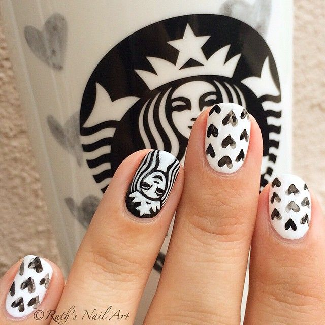 Starbucks Cup Mani #ruthsnailart #nailart @starbucks