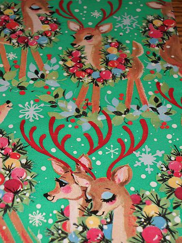 Vintage Christmas Wrapping Paper Unused 1950 Reindeer Gift Wrap Mint | eBay