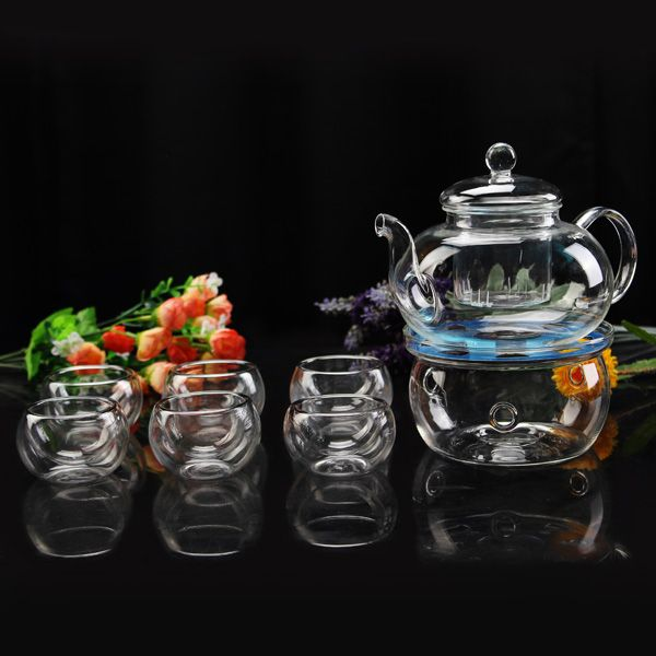 600ml Heat Resistant Glass Flower Tea Pot Set  6 Teacups Tea Warmer