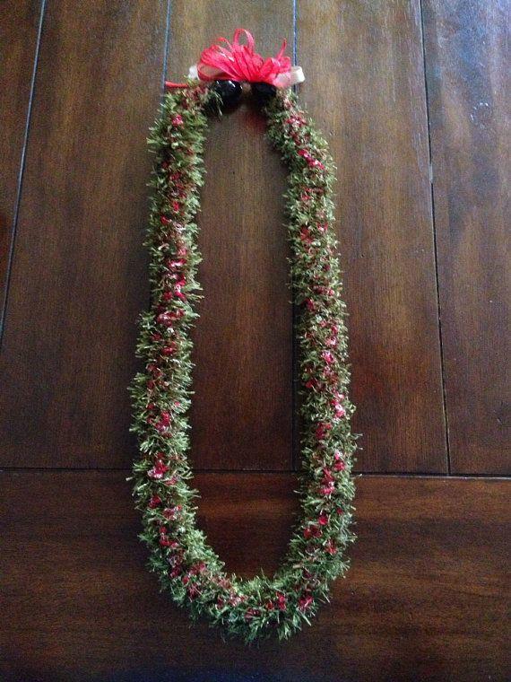 Hawaiian Lei Red Green Christmas Eyelash Yarn | Leis ...