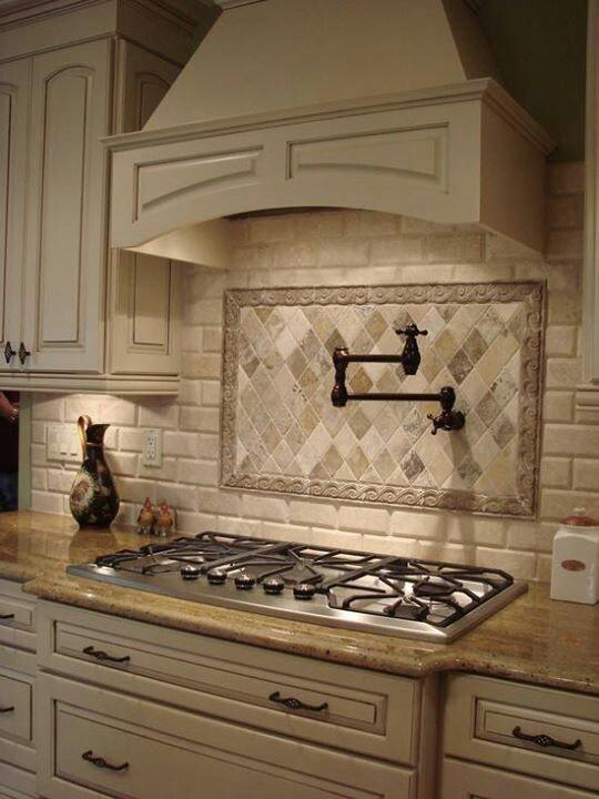 Stove faucet, backsplash (contrast), custom cabinets