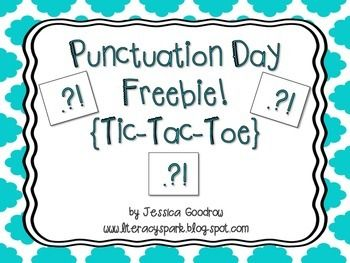 Happy Punctuation Day!  This product contains two half sheets of punctuation mark tic-tac-toe games.  Each sheet has two games for a total of four different games.  Students simply need to choose X or O and then put the correct punctuation mark (. ? !) at the end of each sentence.  The first to three in a row wins!