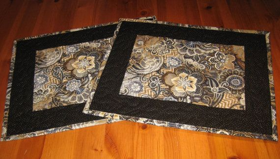 Contemporary Placemats Gray Taupe Cream and Black by TahoeQuilts