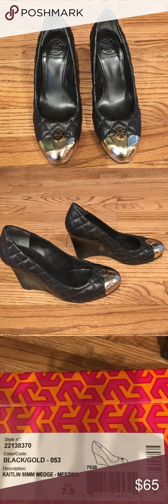 """Tory Birch quilted black leather cap toe wedges These are cute quilted leather wedges with a gold cap toe.  The heel is 3 7/8"""" high. Tory Burch Shoes Wedges"""