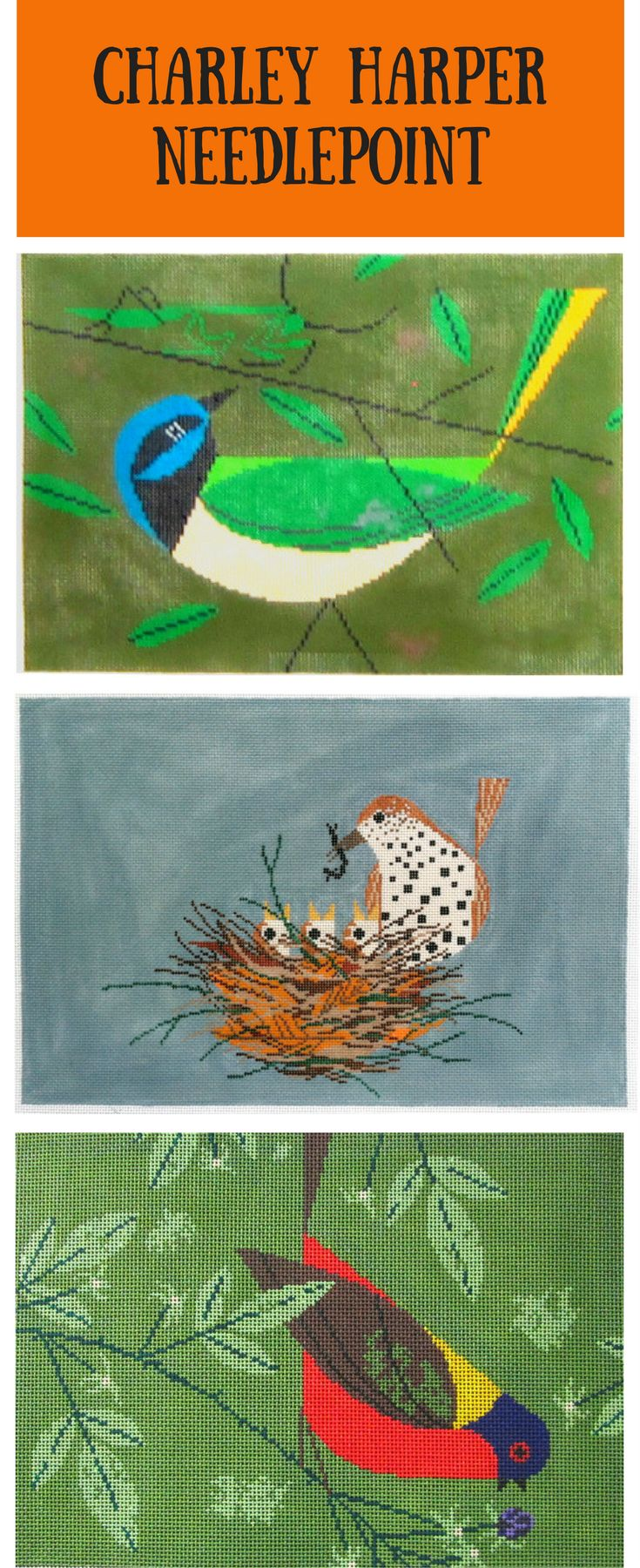 New Charley Harper needlepoint designs in stock. Stitch an easy contemporary needlework project today.