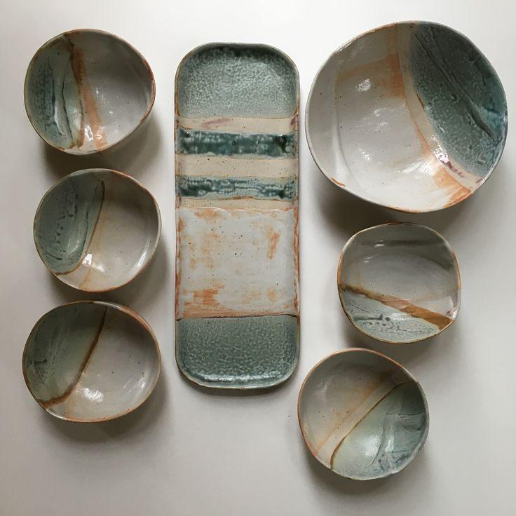 Hand built slab dinnerware, vases, mugs and more. Made at Craft Alliance in the U City Loop, Saint Louis by Linda Wiggen Kraft.