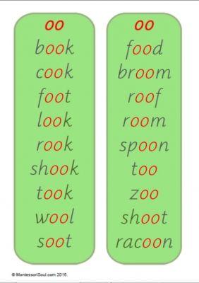 oo and oo word lists