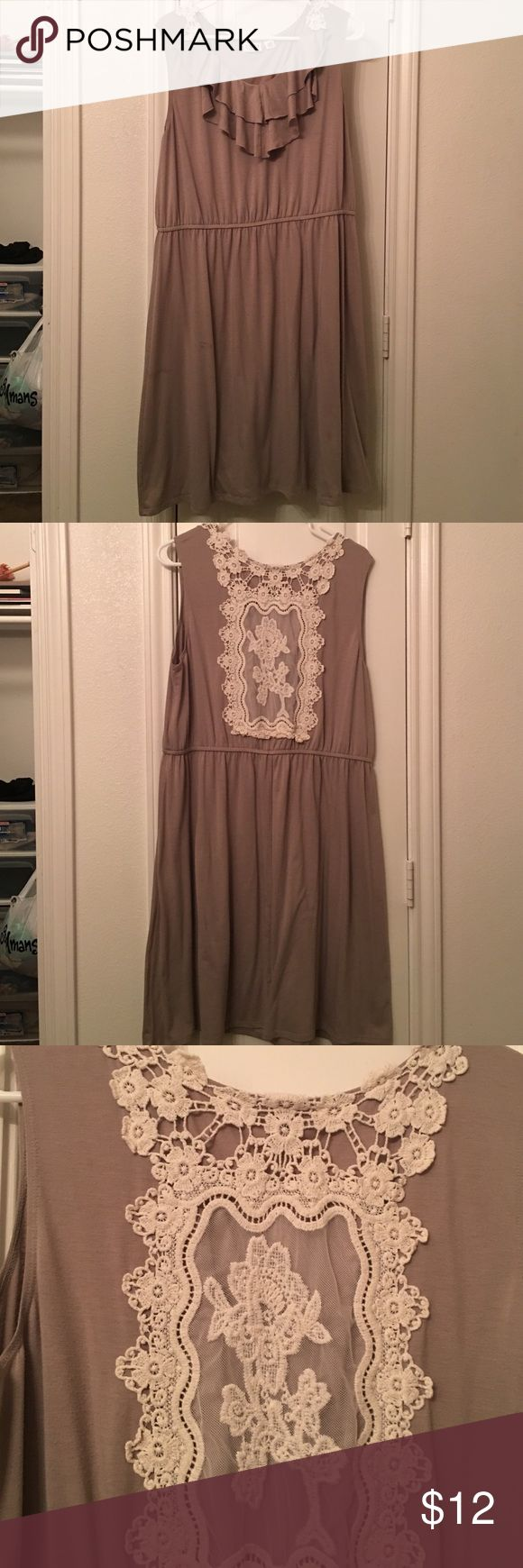Tan lace dress Tan with ruffled neck line and lace design on the back. Worn once for a church function. Cato Dresses