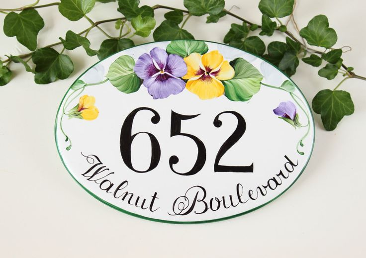 Pansies House name plaque, House number plaque, House Numbers, Address plaque, Shabby chic House sign, Custom house sign by DipintoAdArte on Etsy https://www.etsy.com/listing/202478312/pansies-house-name-plaque-house-number