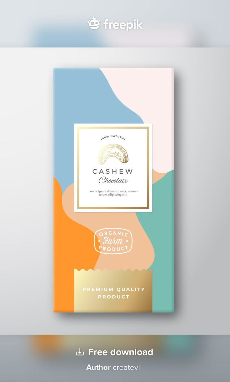 Download cashew chocolate label abstract packaging layout