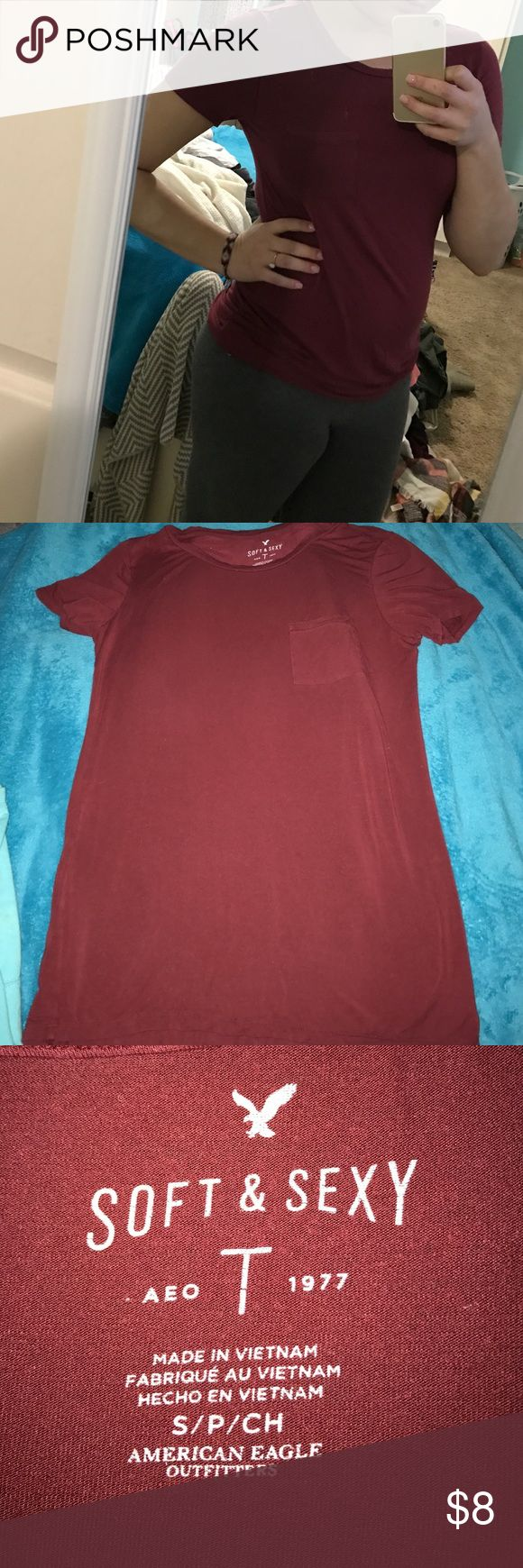 American Eagle Soft & Sexy Tee! Burgundy TShirt! Super comfy and cute! Great condition! Part of the soft and sexy line by American Eagle. American Eagle Outfitters Tops Tees - Short Sleeve