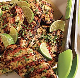 Grilled Thai Chix Breasts w Herb-Lemongrass Crust....i don't even like chix, but maybe this will change my heart.  and i have lemongrass in the garden and am usually stocked up on lime.