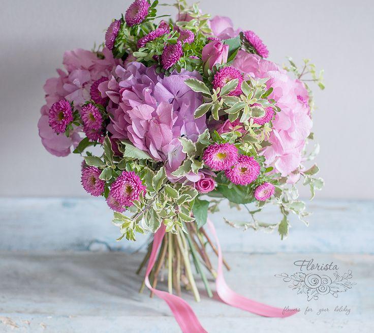 гортензия, астра, букет, осень, подарок, цветы, доставка цветов, новосибирск