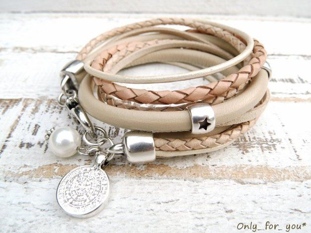 Wickelarmbänder - Tolles Wickelarmband ♥ Nappaleder nude Münze - ein Designerstück von Only_for_you bei DaWanda