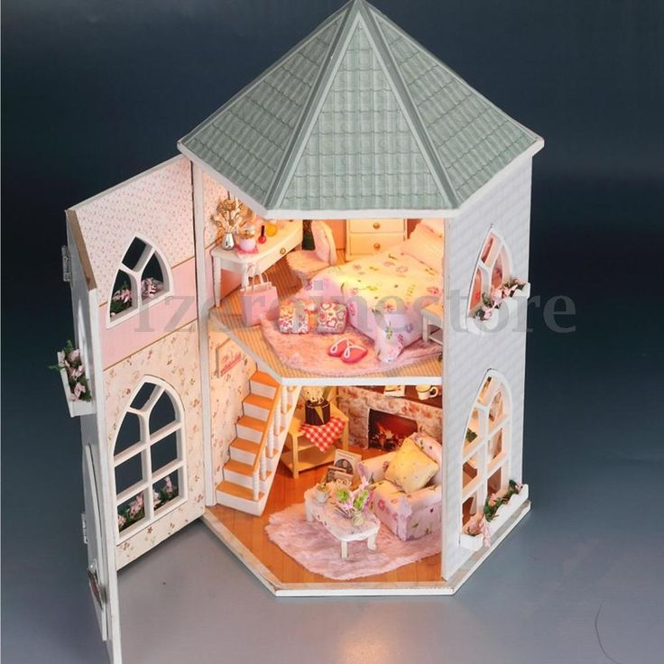 Liebe Schloss Puppenhaus Prinzessin Zimmer DIY Dollhouse Kit mit LED Beleuchtung