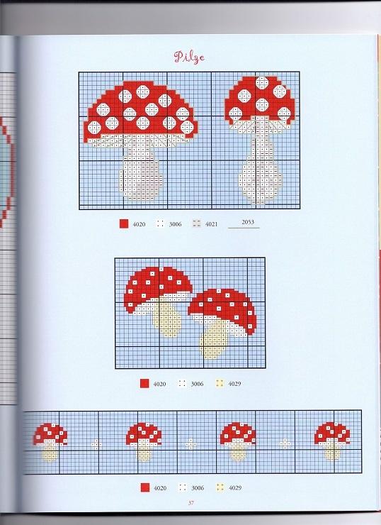 mushroom cross stitch pattern