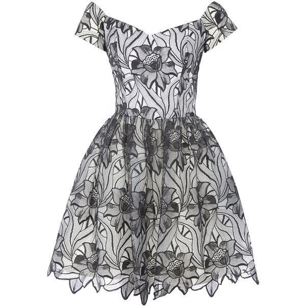 Alice and Olivia Black and White Floral Printed Izabelle Party Dress (£560) ❤ liked on Polyvore featuring dresses, flared dresses, floral print dress, floral dresses, off the shoulder dress and cocktail party dress