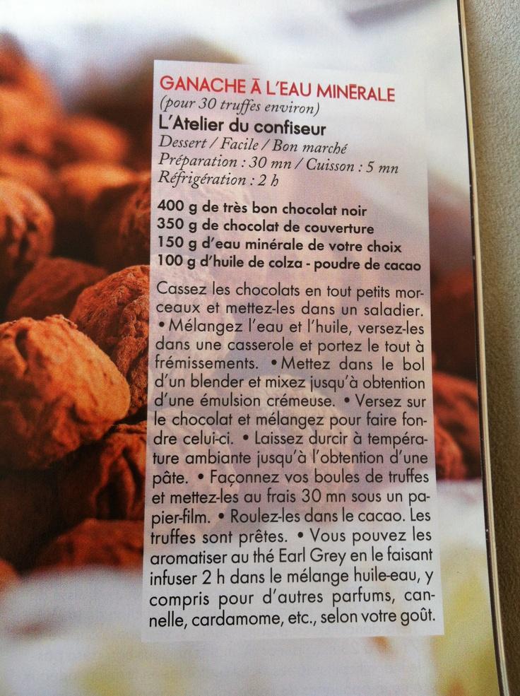 truffes sans lait ganache a l'eau minerale