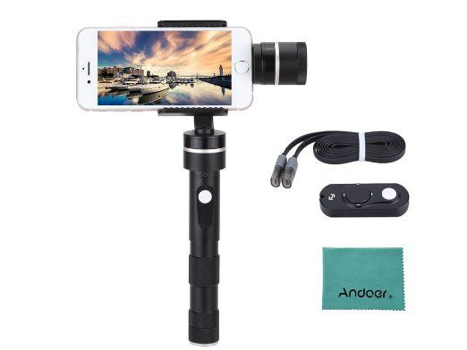Feiyu G4 Plus 3-Axis Brushless Handheld Gimbal for Iphone 6 Plus/6/5s/5c and Smartphones with Similar Dimensions + Feiyu Remote Control W/ Andoer cleanming cloth