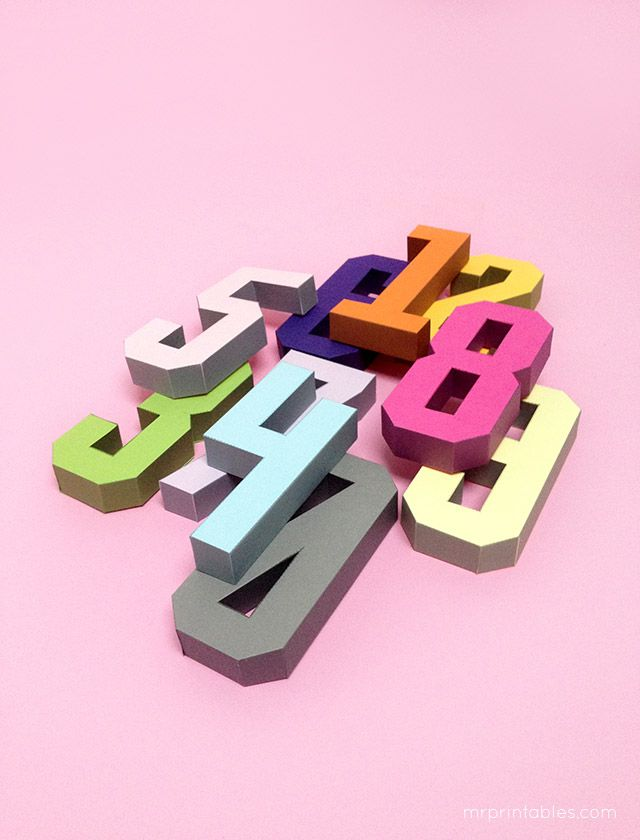 3D number paper craft templates by Mr Printables