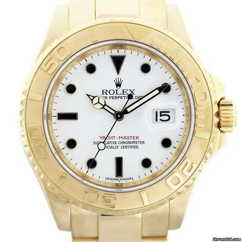 Dial: White Dial with Luminous Markers Bracelet: 18kt Yellow Gold Oyster Box and Papers: Comes with Raymond Lee Jewelers Presentation Box and Warranty Card