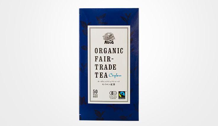 >パッケージ_紅茶 Nova SELECT オーガニックフェアトレードと美味しさにこだわった紅茶。パッケージから中のティーパックまでその品質感が瞬時に伝わることに重点に置きデザインを仕上げました。
