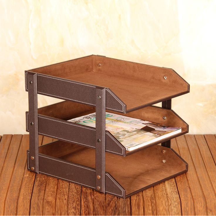APS High-grade Leather Office File Document Tray Case Rack Desk File Document Organizer Holder (3 trays-brown)