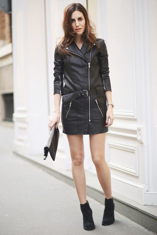 Shop this look for $128:  http://lookastic.com/women/looks/black-trenchcoat-and-silver-clutch-and-black-ankle-boots-and-gold-watch/3077  — Black Leather Trenchcoat  — Silver Sequin Clutch  — Black Suede Ankle Boots  — Gold Watch