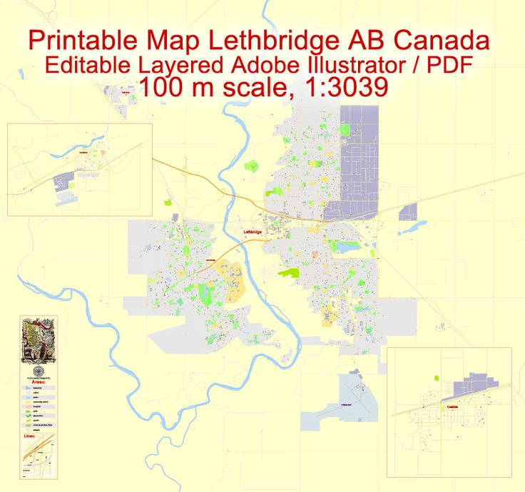 Lethbridge + Coaldale + Fort Macleod Printable Map