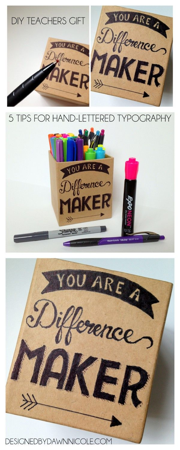 DIY Teacher's Gift Pencil Box & 5 Tips for Hand-Lettered Designs