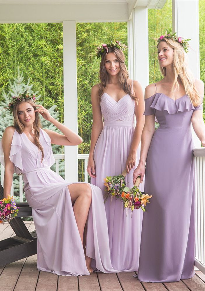 A Line V Neck Lavender Chiffon Bridesmaid Dress With